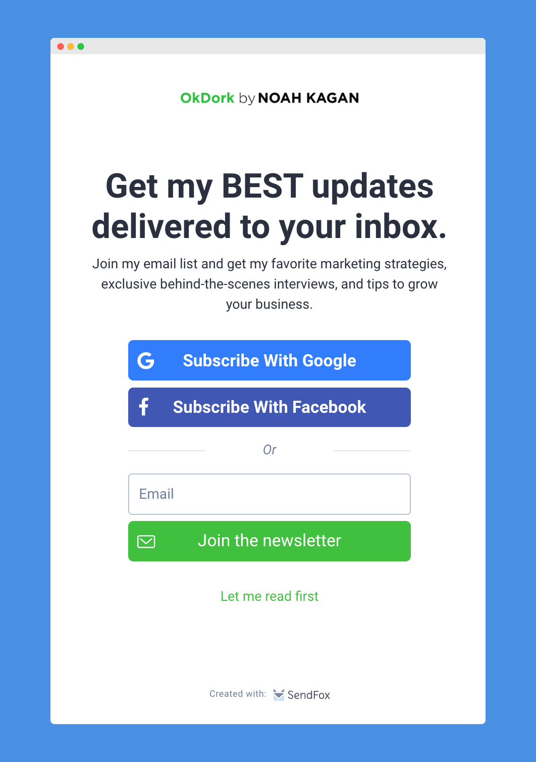 The new subscribe with Google and Facebook buttons